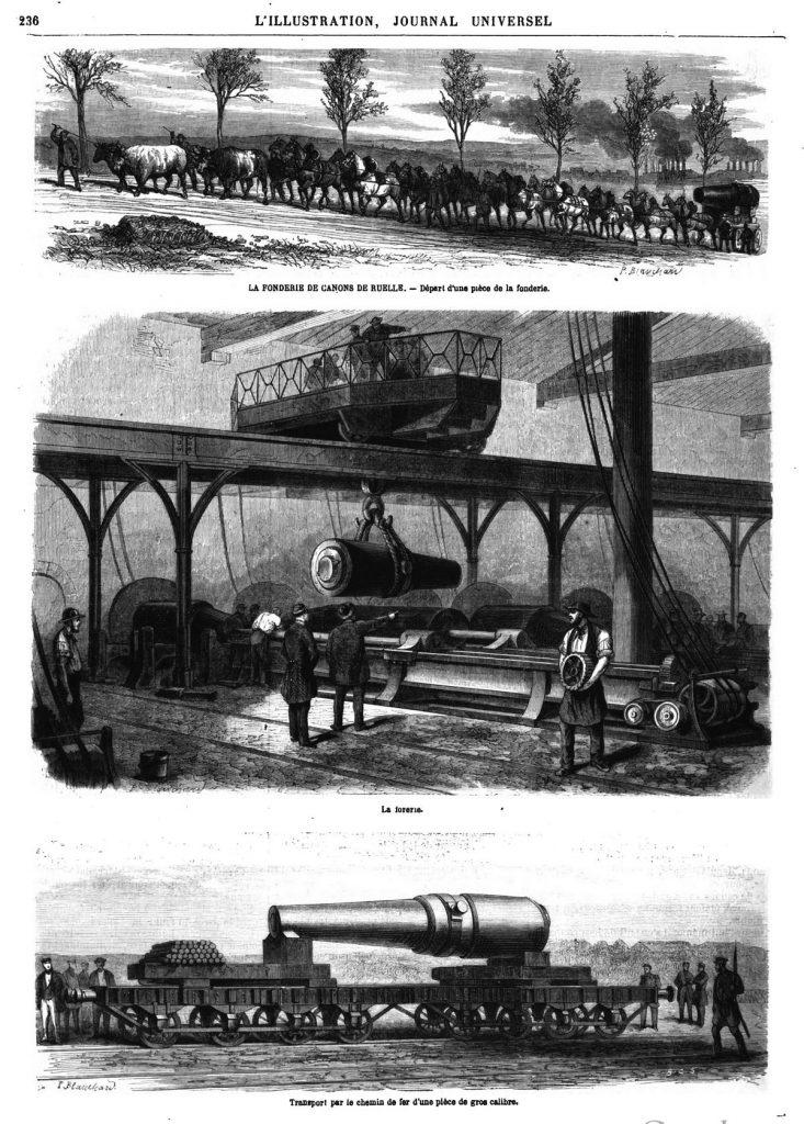 La Fonderie de canons de Ruelle : départ d'une pièce de la fonderie ;