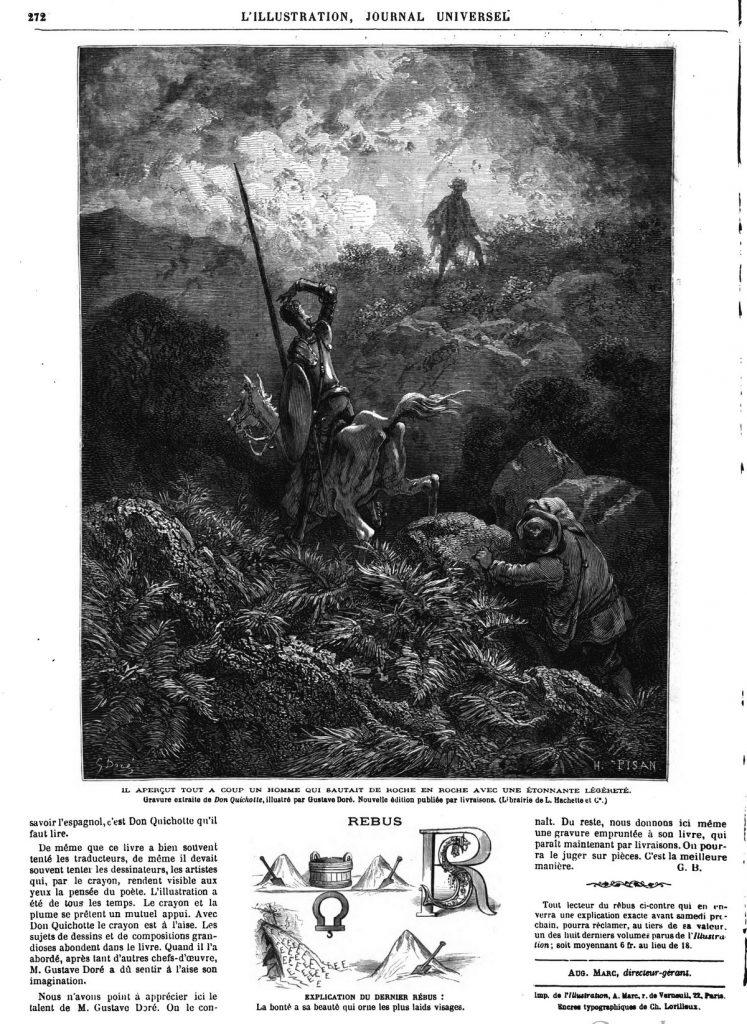 D0N QUICH0TTE ILLUSTRÉ PAR GUSTAVE DORÉ GRAVURE 1869