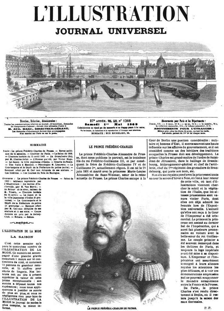 Le prince Frédéric-Charles de Prusse 1869