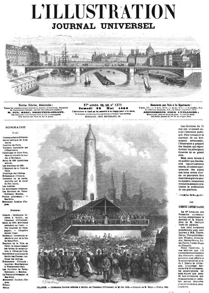 Irlande : Cérémonie funèbre à Dublin, en l'honneur d'O'Connell. 1869
