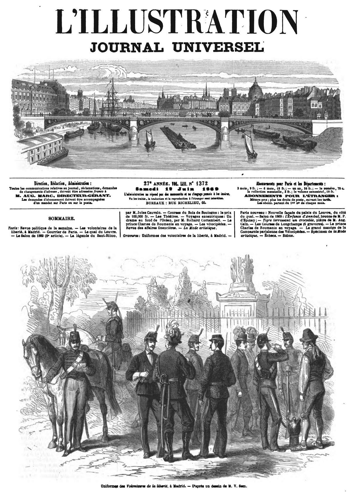 Uniformes des volontaires de la liberté, à Madrid. 1869