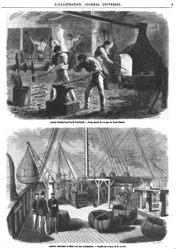 Forge établie sur le pont du Great-Eastern