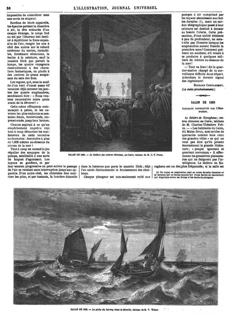 SALON DE 1869. - Le théatre des ombres chinoises, au Caire, tableau de M. C.-T. Frère.- SALON DE 1869. - La péche du hareng dans la Manche, tableau de M. T. Weber.