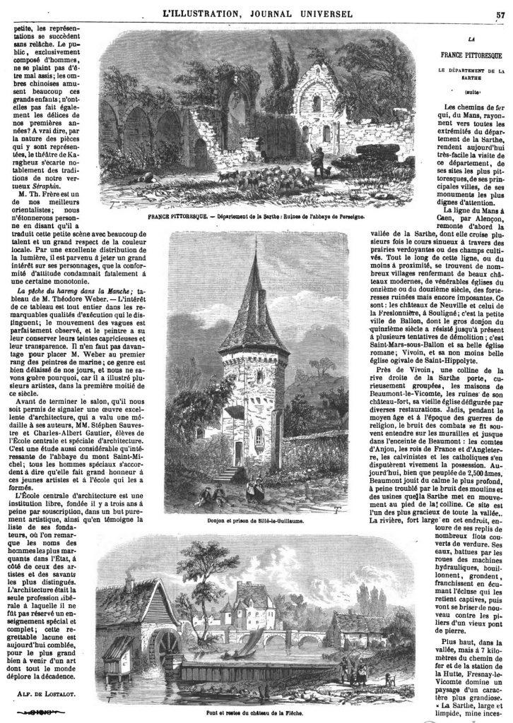 Pont et restes du château de la Flêche.