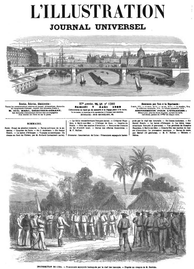 Insurrection de Cuba : Prisonniers espagnols harangués par le chef des insurgés. (Guerra de los Diez Años)