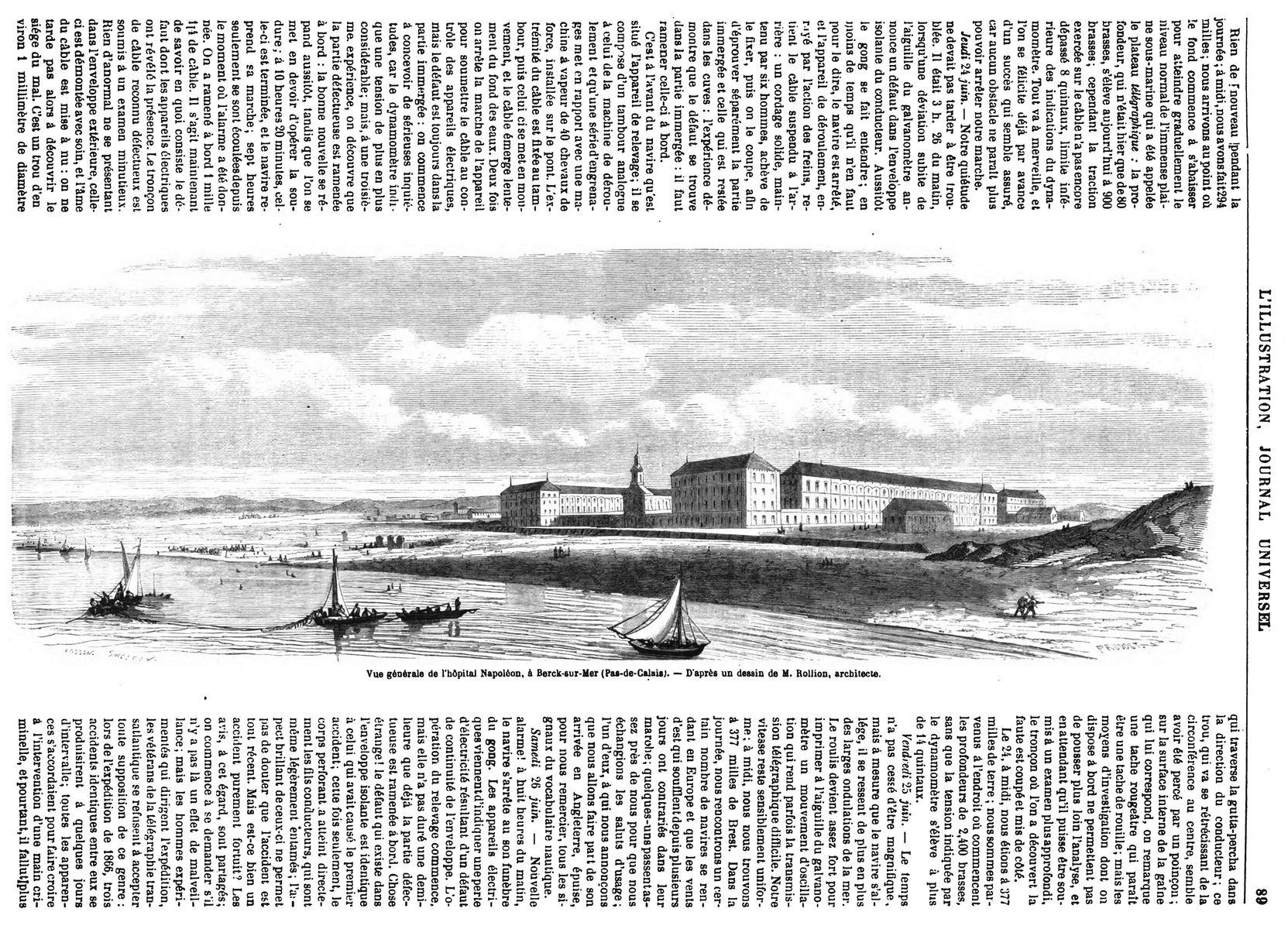Vue générale de l'hospice Napoléon, à Berck-sur-Mer. Hôpital maritime de Berck