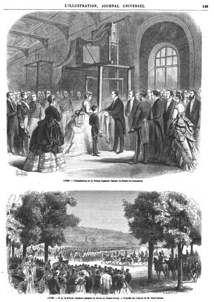 — L'Impératrice et le Prince impérial visitant le Palais du Commerce . — S. A. le Prince impérial passant la revue au Grand-Camp.
