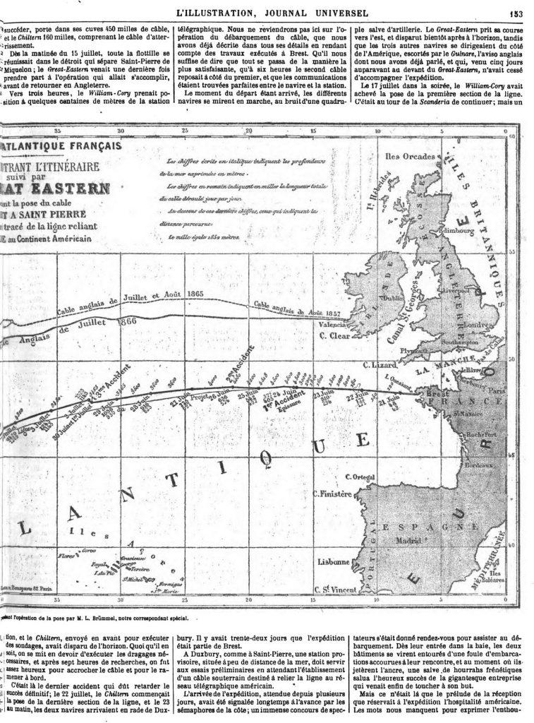 Le Câble transatlantique français : Itinéraire du câble. carte dressée pendant l'opération de la pose