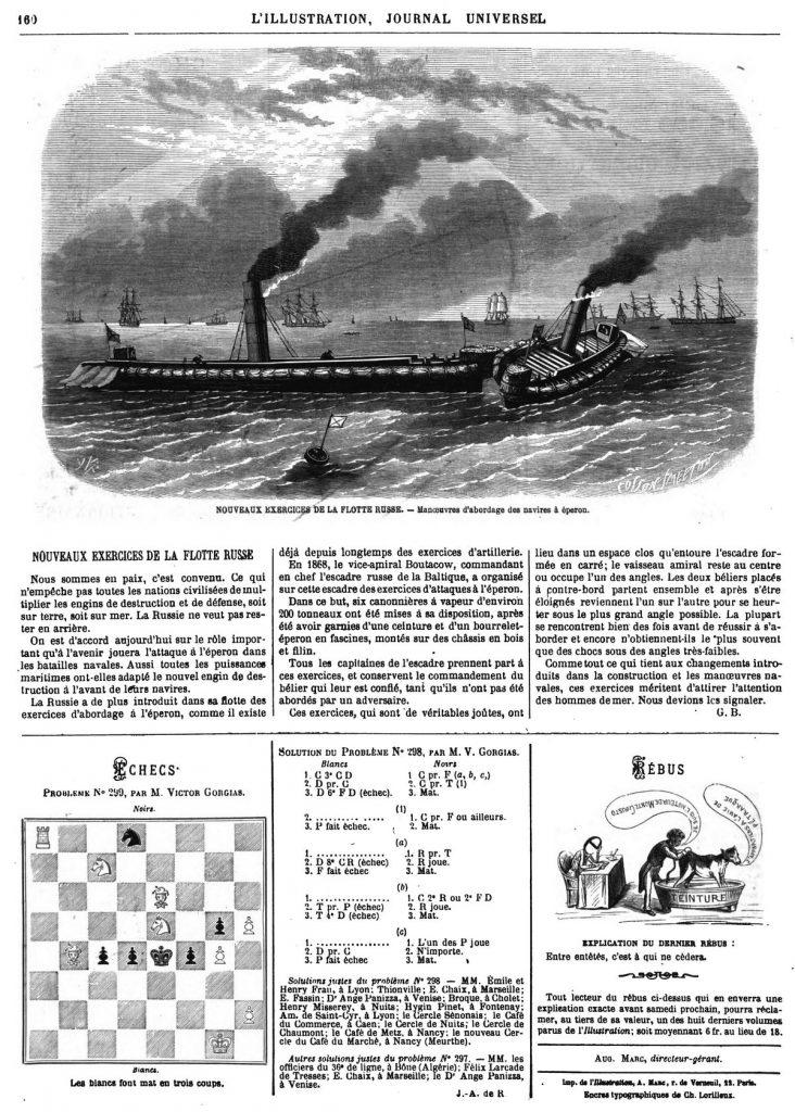 Nouveaux exercices de la flotte russe : Manœuvres d'abordage des navires à éperon.