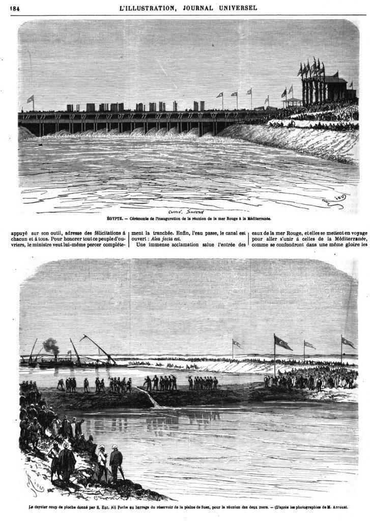 Le dernier coup de pioche donné par S, Exc, Ali Pacha au barrage du réservoir de la plaine de Suez, pour la réunion des deux mers. - (D'après les photographies de M. Arnous).