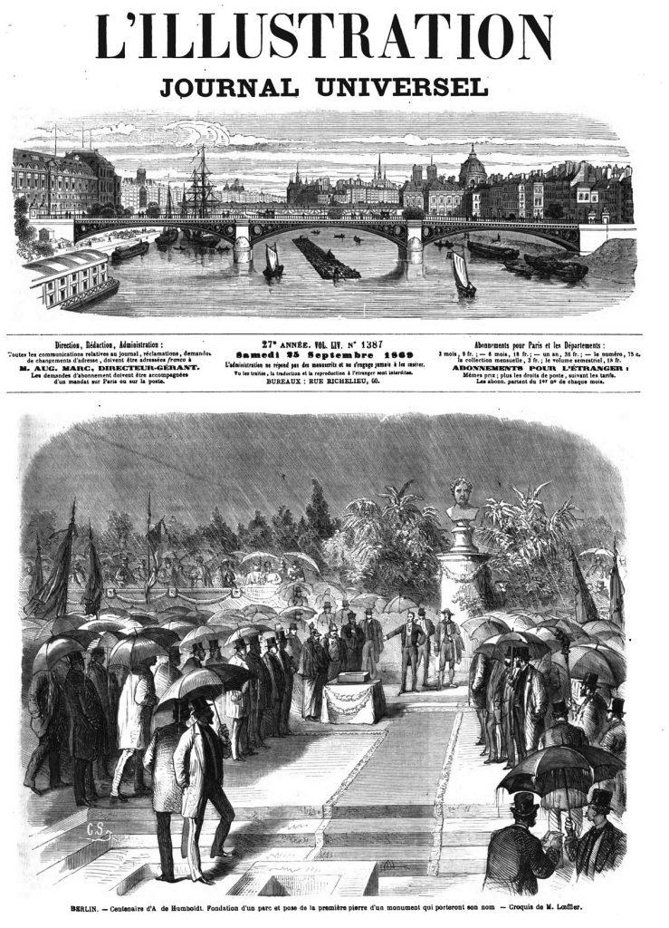 BERLIN. - Centenaire d'A de Humboldt. Fondation d'un parc et pose de la première pierre d'un monument qui porteront son nom