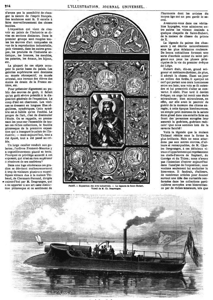 PARIS. — Exposition des Arts industriels. — La légende de Saint-Hubert. Vitrail de M. Ch. Desgranges.