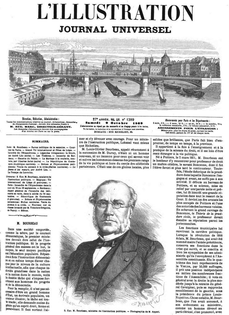 S. Exc. M. Bourbeau, ministre de l'instruction publique. 1869