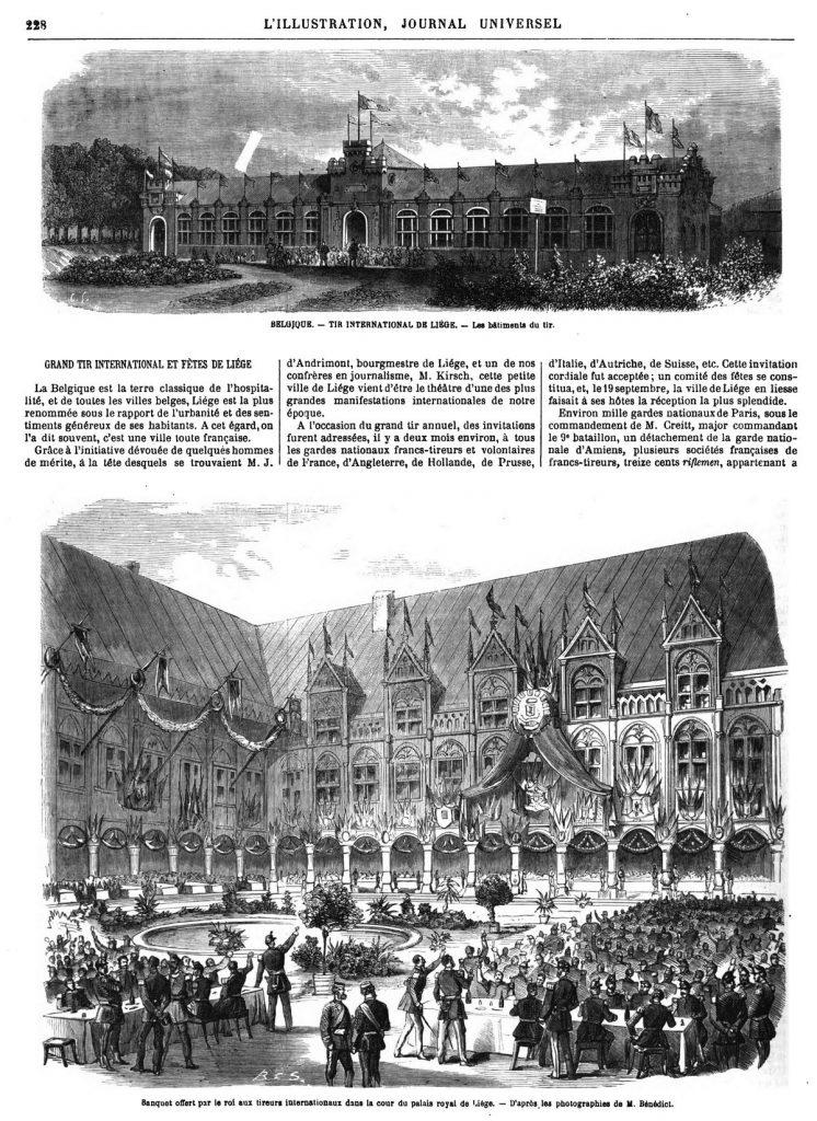 Banquet offert par le roi aux tireurs internationaux dans la cour du palais royal de Liége. 1869