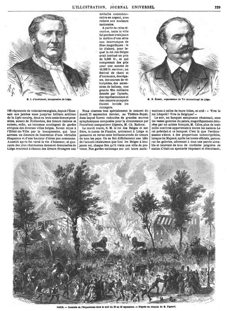 PARIS. - Incendie de l'Hippodrome dans la nuit du 29 au 30 septembre.1869