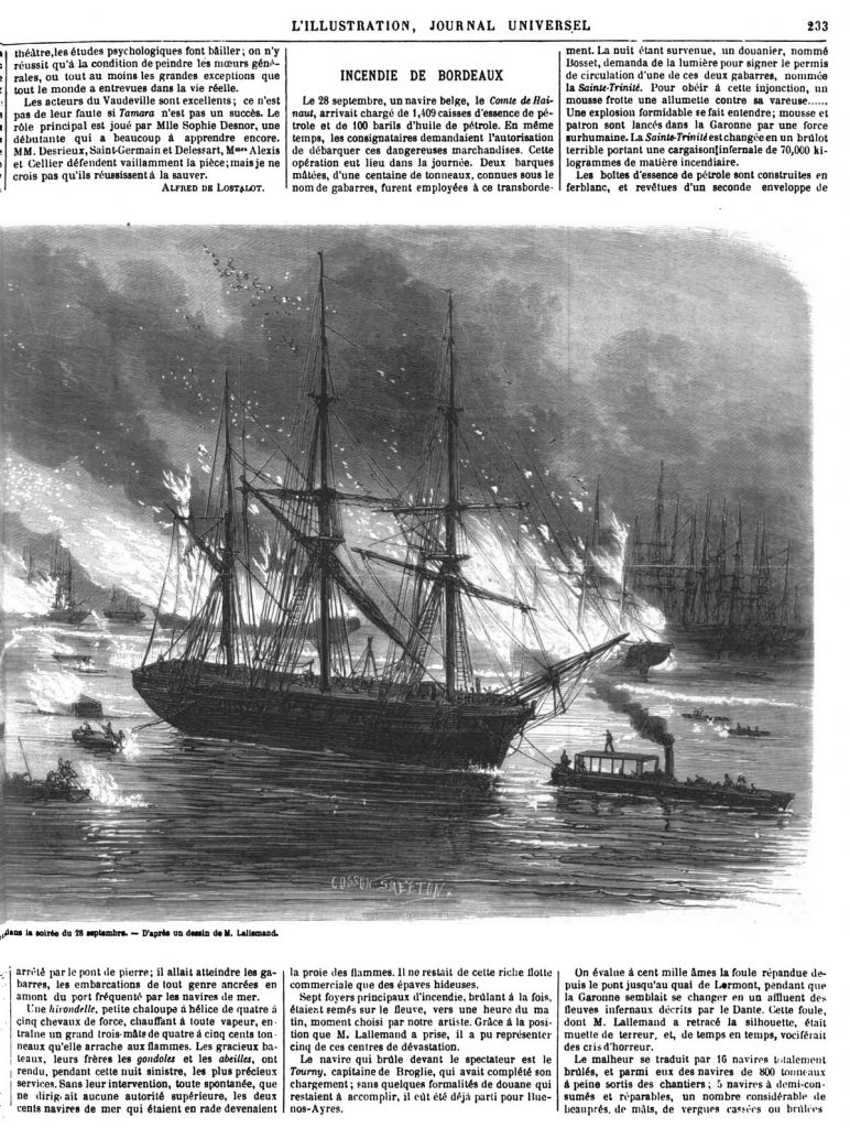Bordeaux : Aspect général de l'incendie des bâtiments en rade, dans la soirée du 28 septembre. 1869