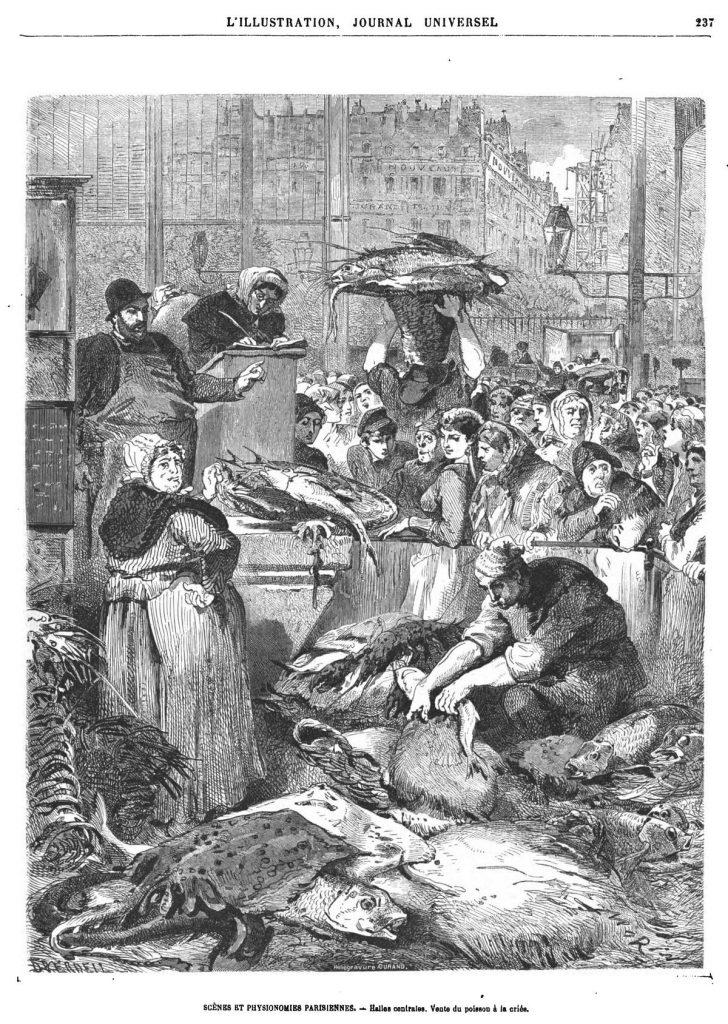 Scènes et Physionomies parisiennes : Halles centrales. Vente du poisson à la criée.1869