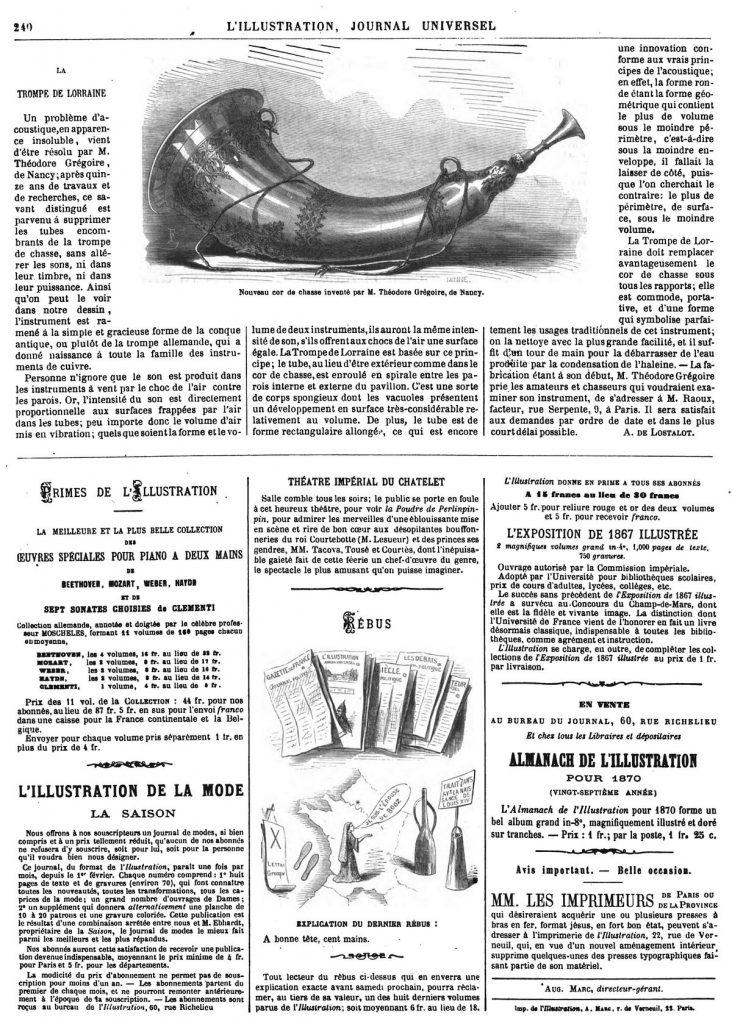 Nouveau cor de chasse inventé par M. Théodore Grégoire, de Nancy. 1869