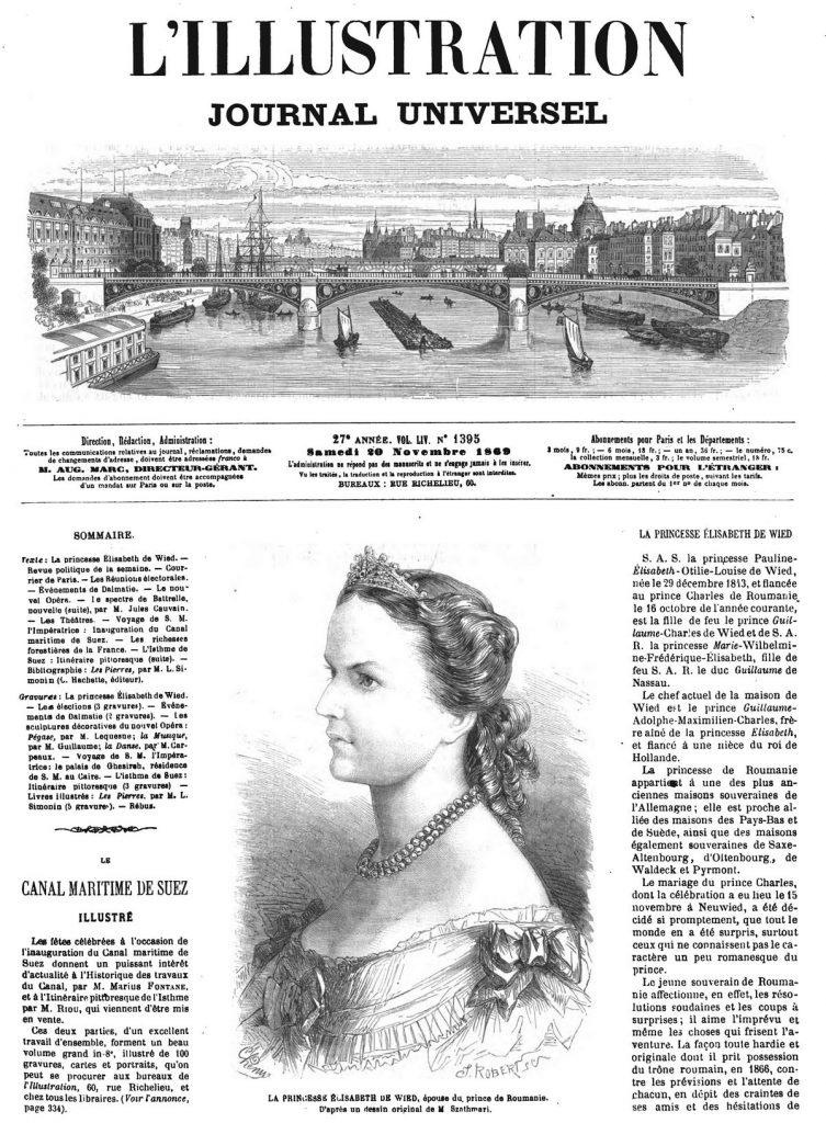 LA PRINCESSE ÉLISABETH DE WIED, épouse du prince de Roumanie. D'après un dessin original de M Szathmari.