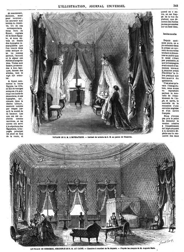 VOYAGE DE S. M. L'IMPÉRATRICE. — Cabinet de toilette de S. M. au palais de Ghesireh. LE PALAIs DE GHESIREH, RESIDENCE DE s. M. AU CAIRE. - Chambre à coucher de Sa Majesté. - D'après les croquis de M. Auguste Marc, 1869