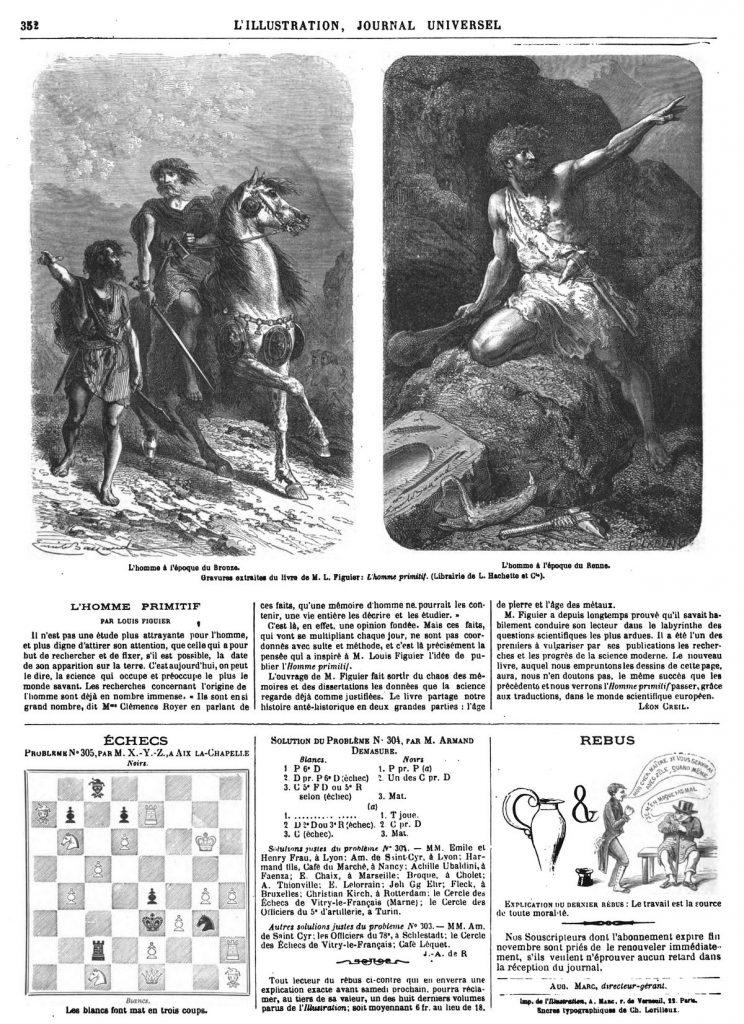 Gravures extraites du livre de M. L. Figuier : L'homme primitif