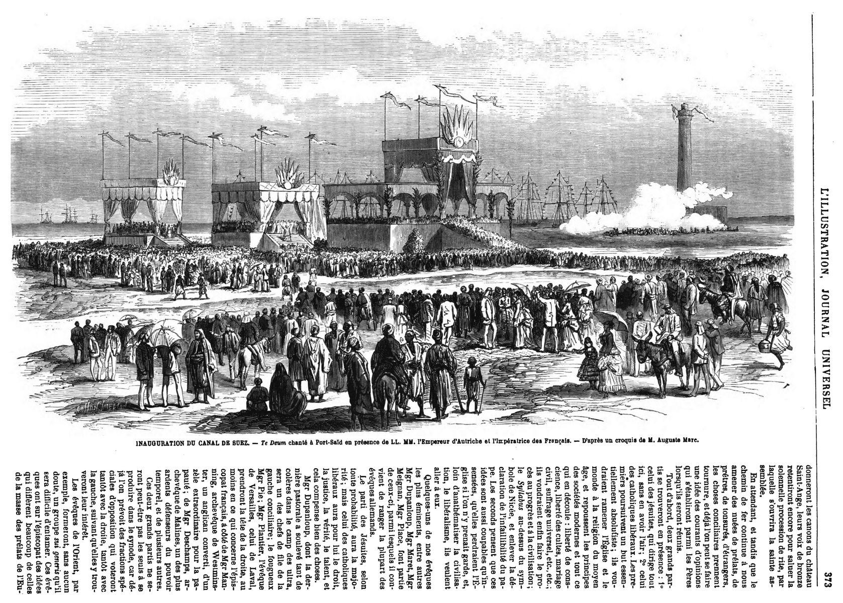 Inauguration du Canal de Suez : Te Deum cnanté à Port Saïd; 1869