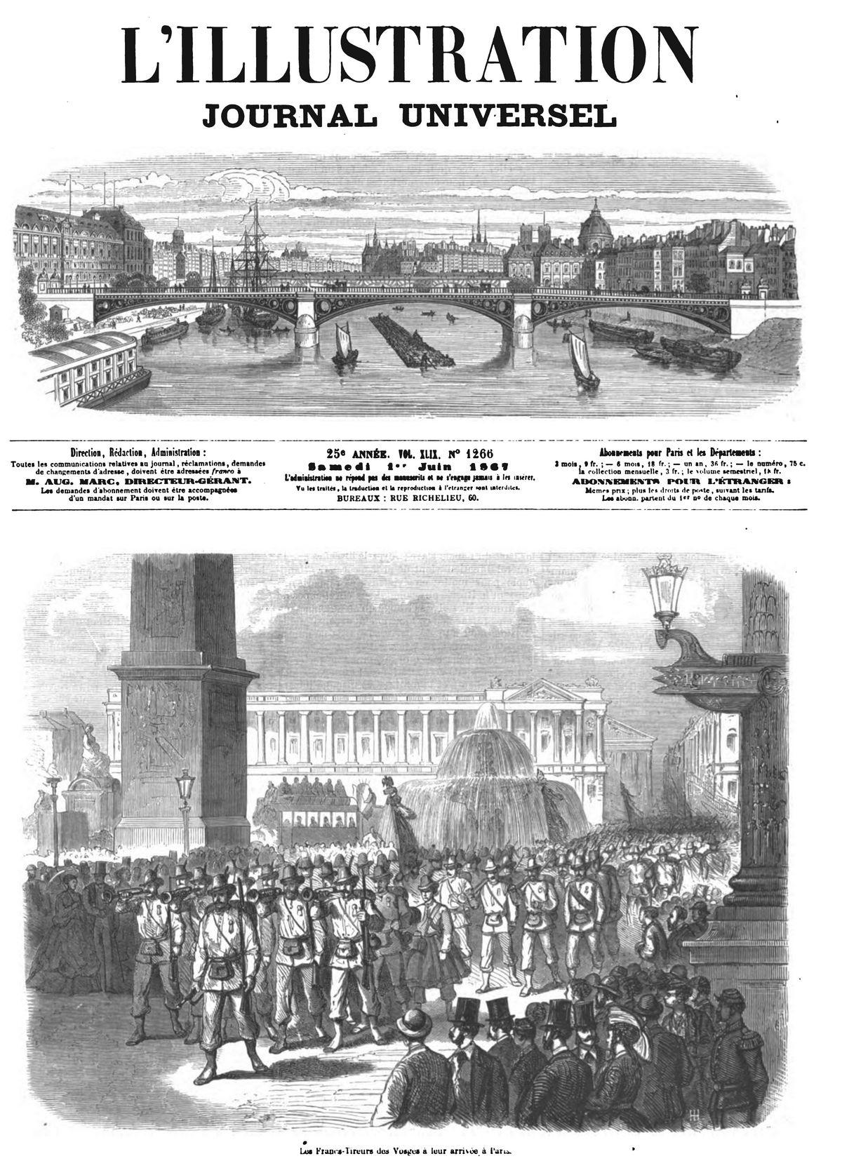 Entrée à Paris des Francs-Tireurs des Vosges. 1867