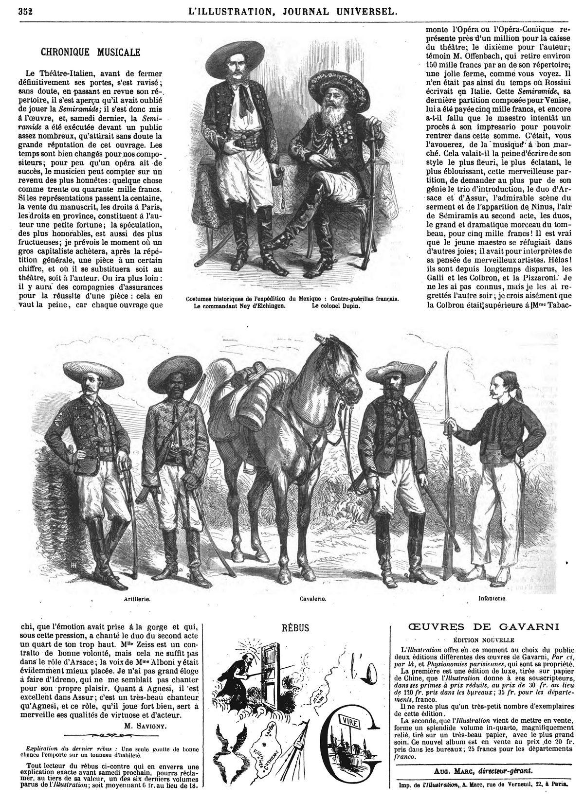 Costumes historiques de lexpédition du Mexique.