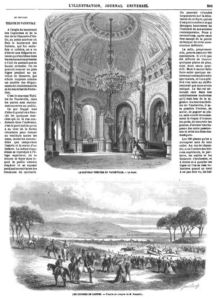 Les courses de Cannes. Shoshone Falls 1869