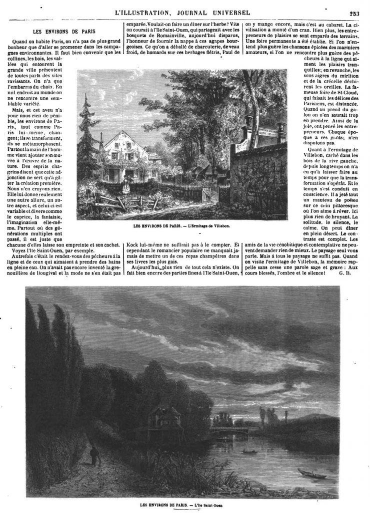 LES ENVIRONS DE PARIS. - L'ile Saint-Ouen 1869 (Seine-Saint-Denis)