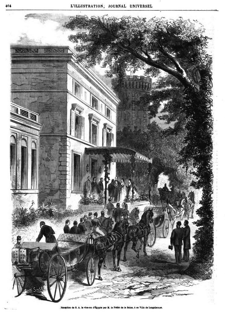 Réception de S. A. le vice-roi d'Egypte parle préfet de la Seine, à la villa de Longchamps.