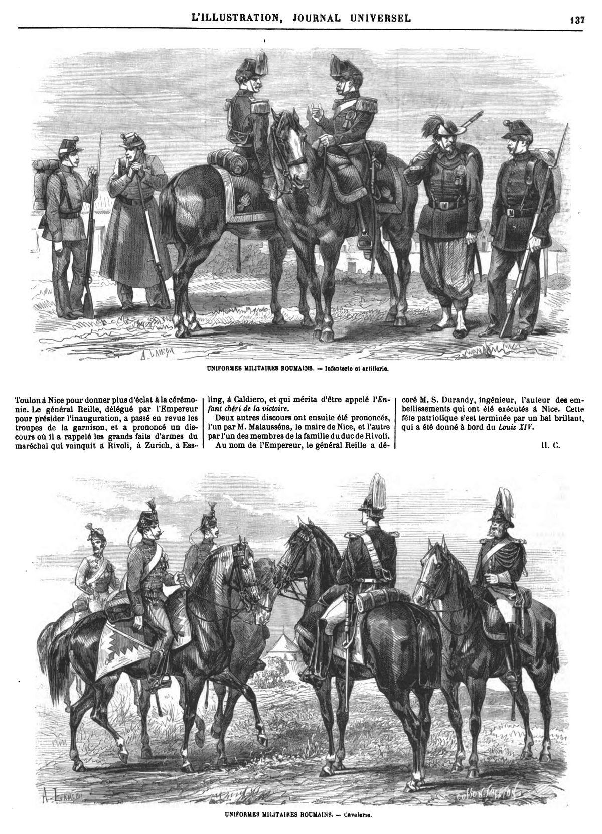 Uniformes militaires roumains.1869