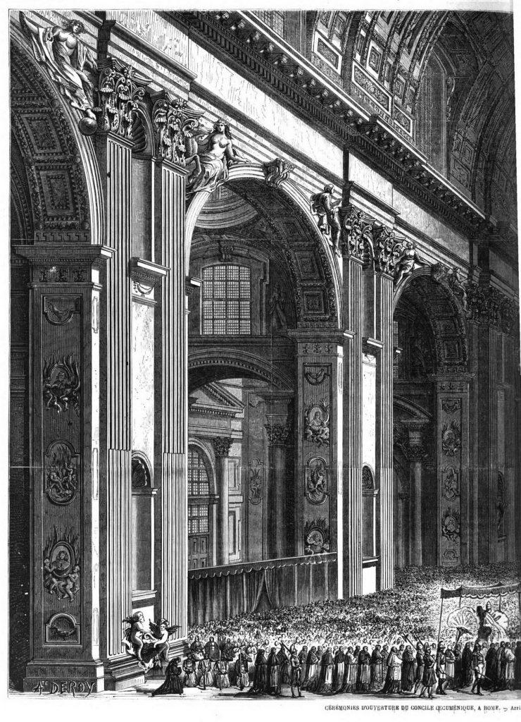 Cérémonies d'ouverture du Concile œcuménique, à Rome : Arrivée du cortège dans la grande nef de Saint-Pierre.