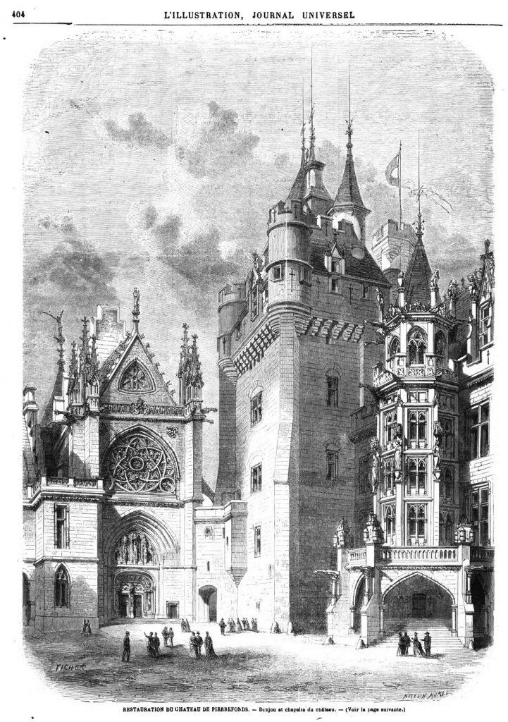 Restauration du château de Pieirefonds: Donjon et Chapelle du château.