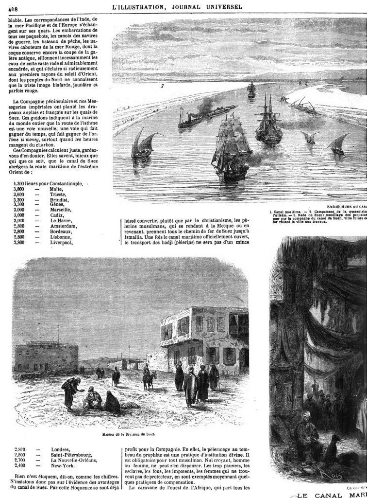 Le Canal maritime de Suez : Embouchure du canal maritime, à Suez 1869