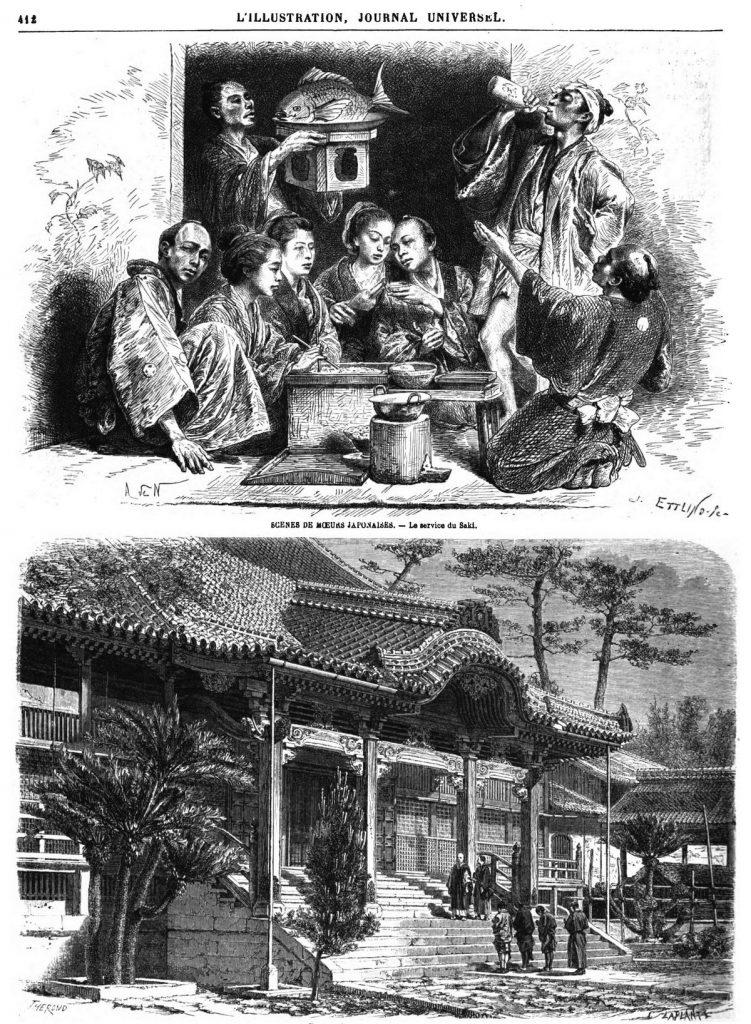 Le Japon illustré: scène de mœurs japonaises; au service du Saki;Un temple bouddhiste, à Naugasaki.
