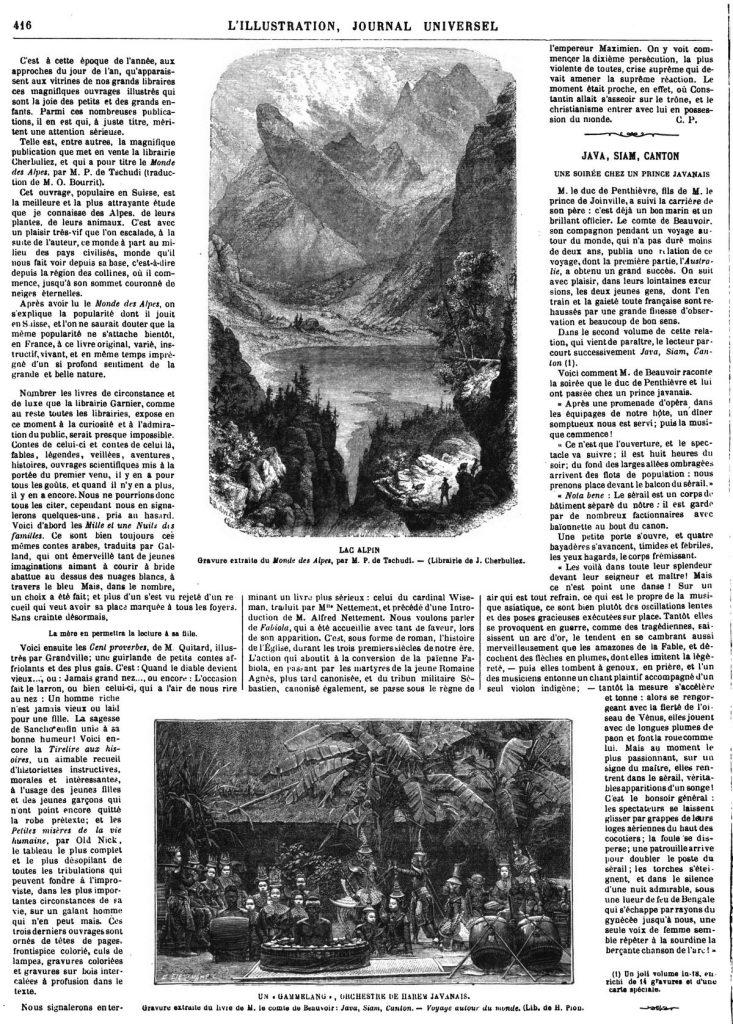 Le Monde des Alpes, par M. Tschudi: Lac Alpin 1869