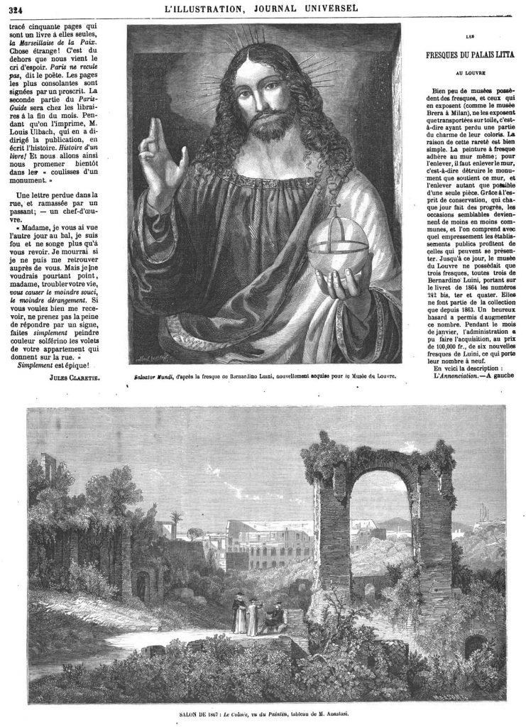 Salvator Mundi, d'après la fresque de Bernardino Luuni, nouvellement acquise pour le Musée du Louvre,