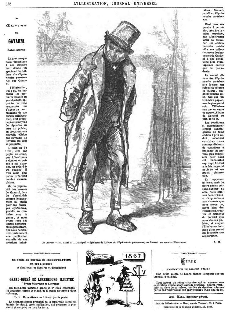 Album des physionomies parisiennes : Au Marais, dessin do Gavarni.
