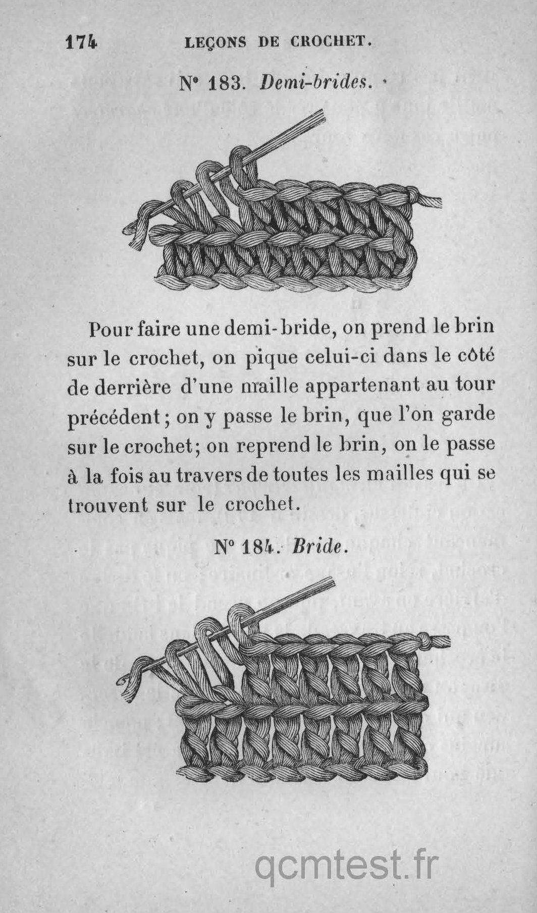 n° 182. crochet en biais. n° 183. demi-brides. n° 184. bride. leÇons