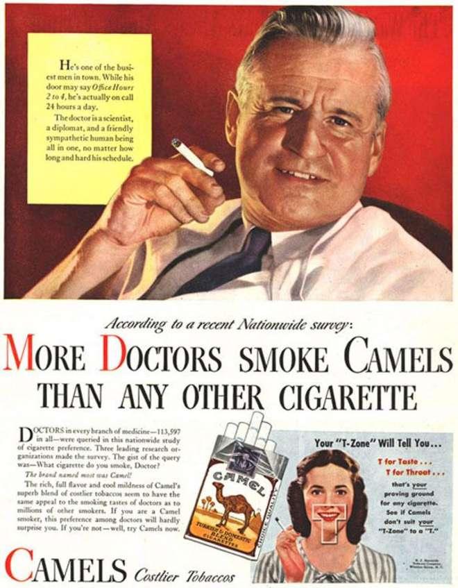 De plus en plus de médecins fument des Camels. C'est scientifiquement prouvé, nos cigarettes n'ont aucun effet négatif