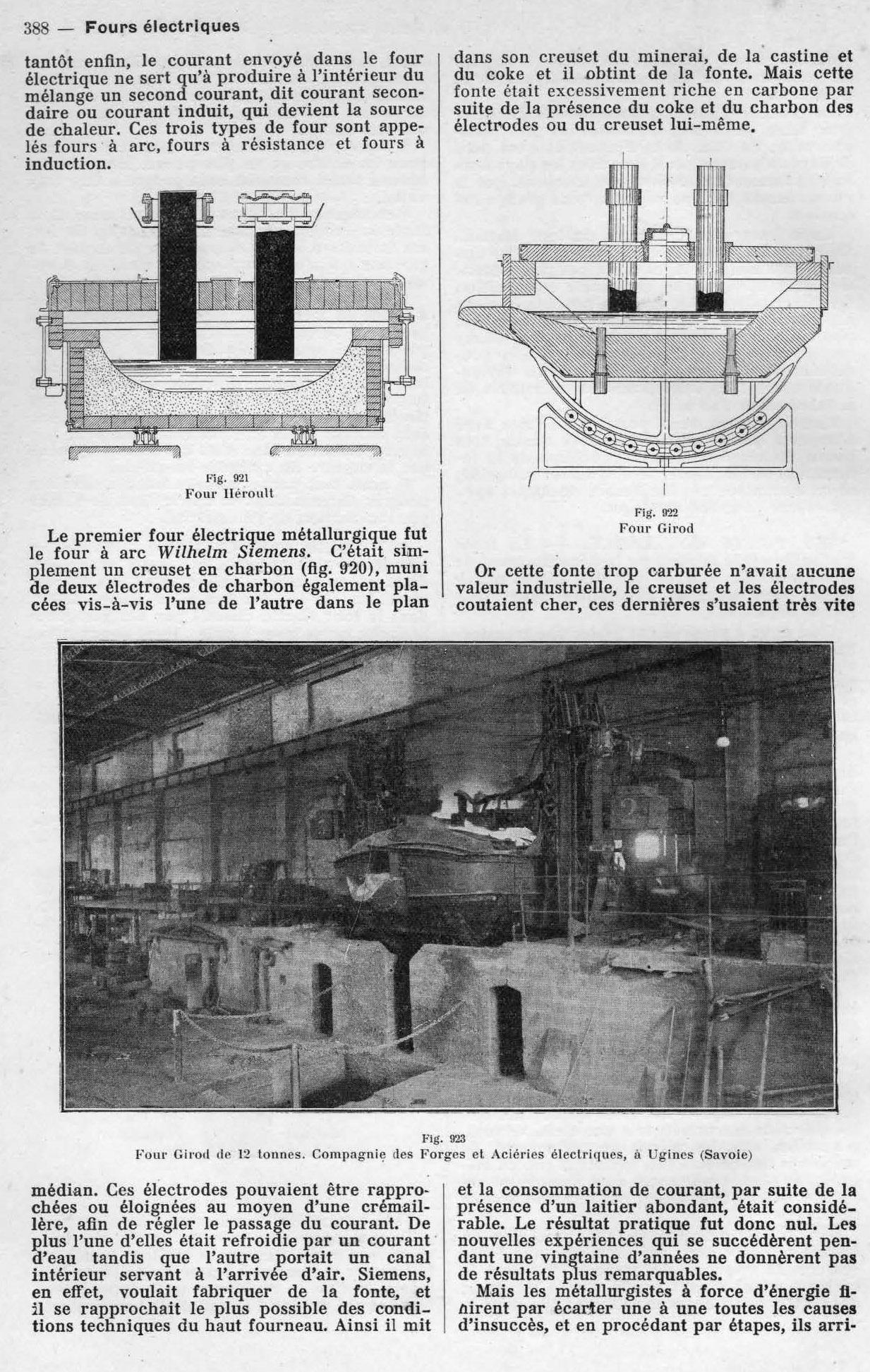 Four Girod de 12 tonnes. Compagnie des Forges et Aciéries électriques, à Ugines (Savoie)