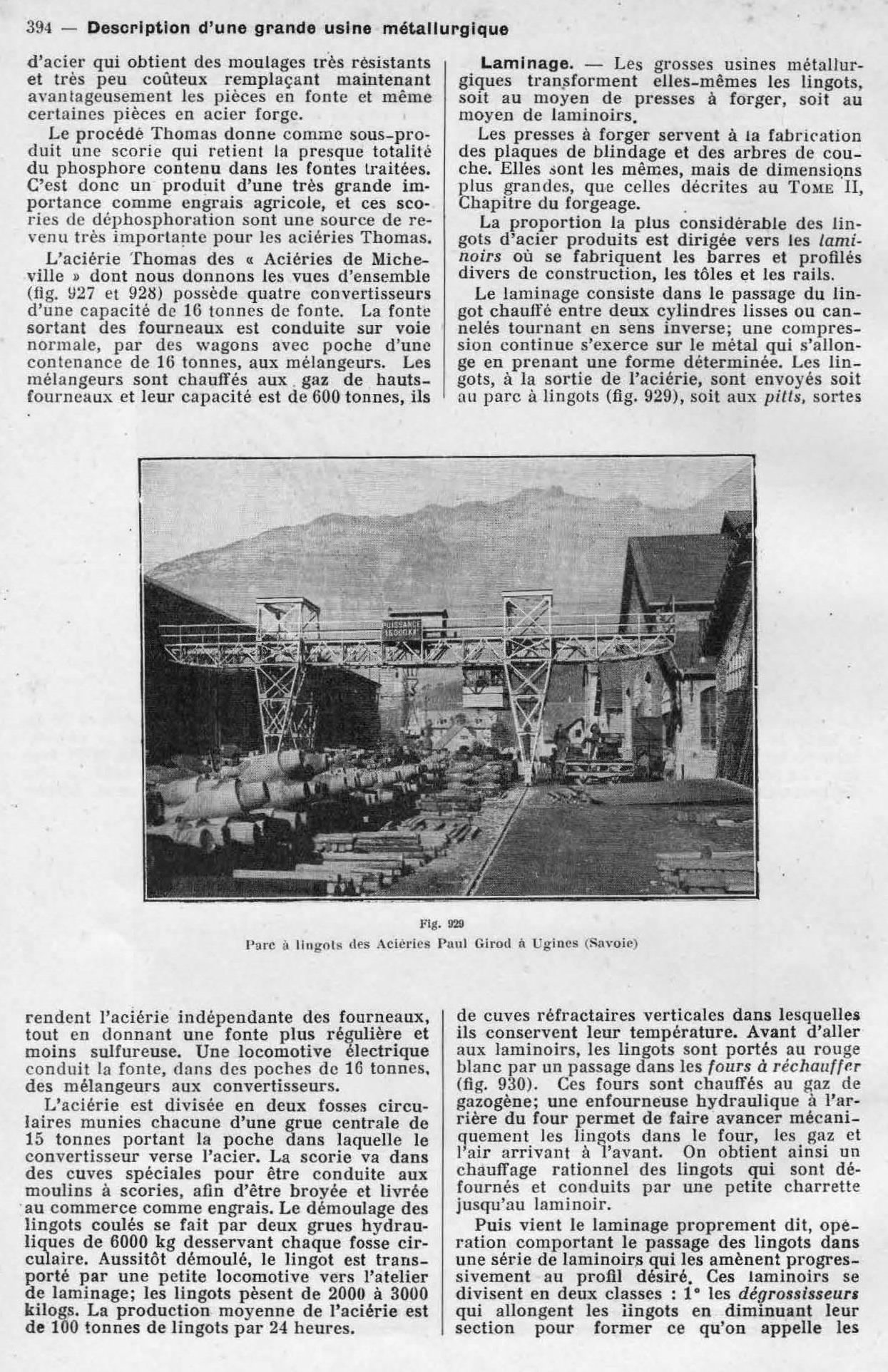 Parc à lingots des Aciéries Paul Girod à Ugines (Savoie)