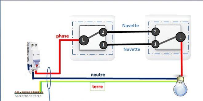 Comment brancher un va et vient avec 2 interrupteurs - Branchement va et vient ...
